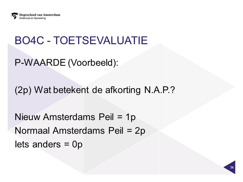 BO4C - TOETSEVALUATIE P-WAARDE (Voorbeeld): (2p) Wat betekent de afkorting N.A.P..