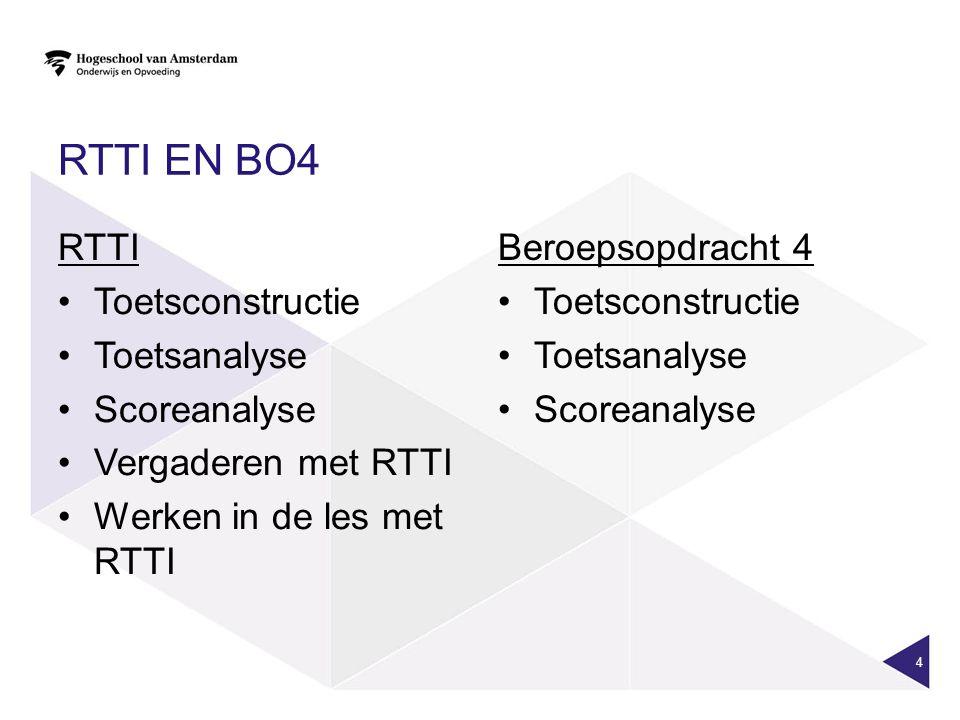 RTTI EN BO4 RTTI Toetsconstructie Toetsanalyse Scoreanalyse Vergaderen met RTTI Werken in de les met RTTI Beroepsopdracht 4 Toetsconstructie Toetsanalyse Scoreanalyse 4