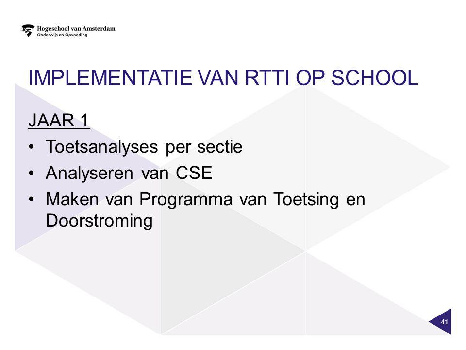 IMPLEMENTATIE VAN RTTI OP SCHOOL JAAR 1 Toetsanalyses per sectie Analyseren van CSE Maken van Programma van Toetsing en Doorstroming 41