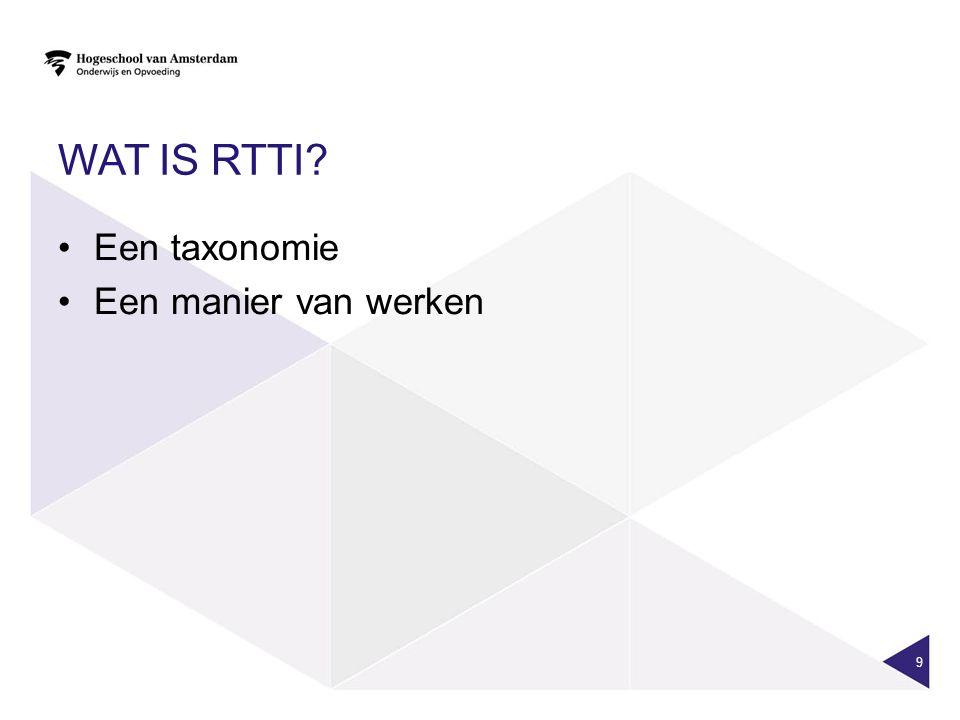 WAT IS RTTI? Een taxonomie Een manier van werken 9