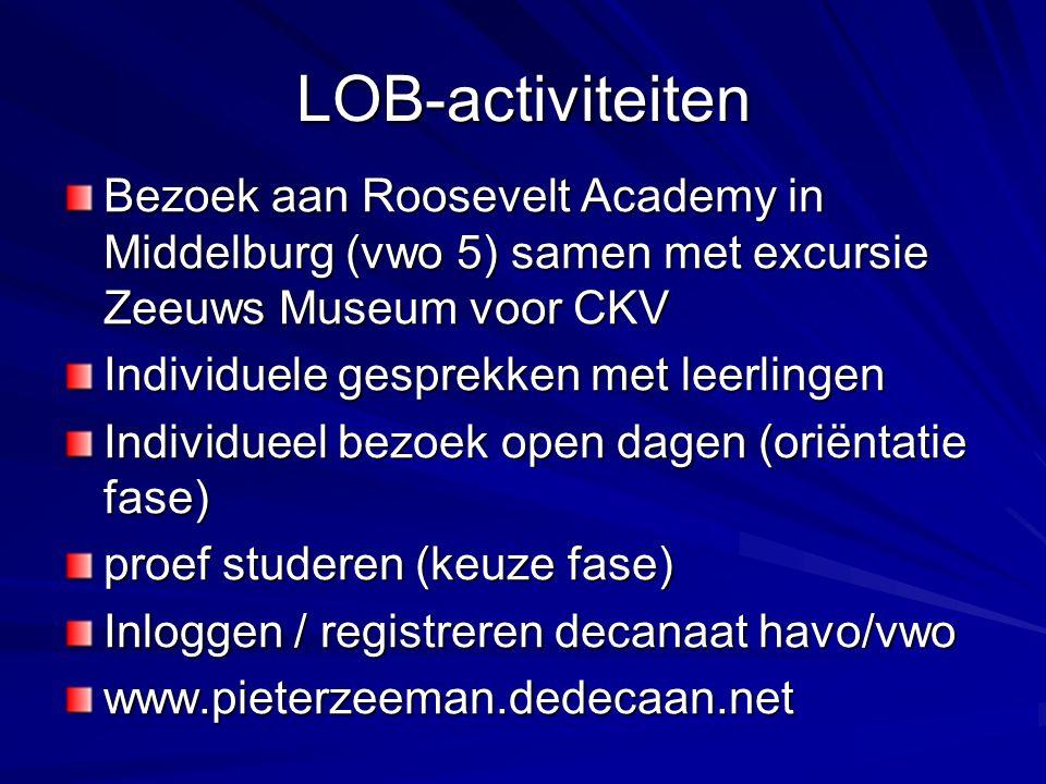 LOB-activiteiten Bezoek aan Roosevelt Academy in Middelburg (vwo 5) samen met excursie Zeeuws Museum voor CKV Individuele gesprekken met leerlingen Individueel bezoek open dagen (oriëntatie fase) proef studeren (keuze fase) Inloggen / registreren decanaat havo/vwo www.pieterzeeman.dedecaan.net