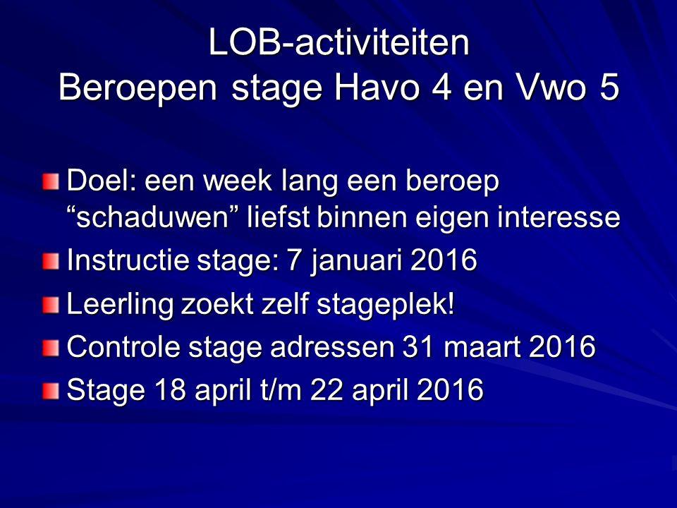 """LOB-activiteiten Beroepen stage Havo 4 en Vwo 5 Doel: een week lang een beroep """"schaduwen"""" liefst binnen eigen interesse Instructie stage: 7 januari 2"""