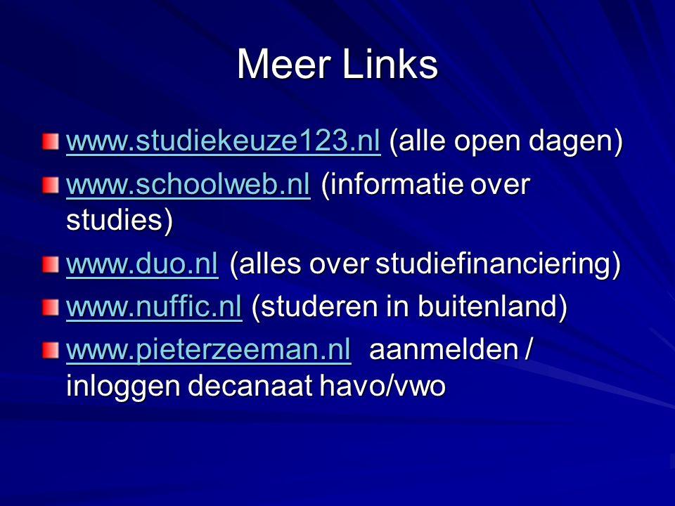 Meer Links www.studiekeuze123.nlwww.studiekeuze123.nl (alle open dagen) www.studiekeuze123.nl www.schoolweb.nlwww.schoolweb.nl (informatie over studies) www.schoolweb.nl www.duo.nlwww.duo.nl (alles over studiefinanciering) www.duo.nl www.nuffic.nlwww.nuffic.nl (studeren in buitenland) www.nuffic.nl www.pieterzeeman.nlwww.pieterzeeman.nl aanmelden / inloggen decanaat havo/vwo www.pieterzeeman.nl
