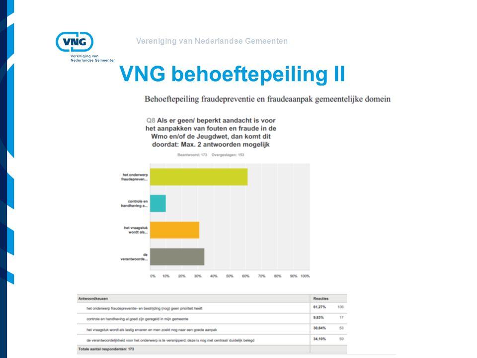 Vereniging van Nederlandse Gemeenten VNG behoeftepeiling II