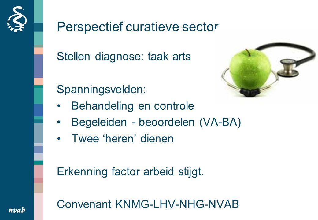Perspectief curatieve sector Stellen diagnose: taak arts Spanningsvelden: Behandeling en controle Begeleiden - beoordelen (VA-BA) Twee 'heren' dienen Erkenning factor arbeid stijgt.