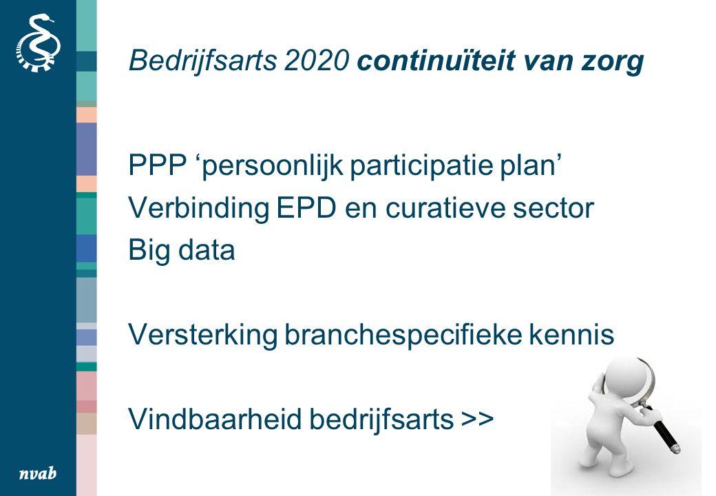 Bedrijfsarts 2020 continuïteit van zorg PPP 'persoonlijk participatie plan' Verbinding EPD en curatieve sector Big data Versterking branchespecifieke kennis Vindbaarheid bedrijfsarts >>