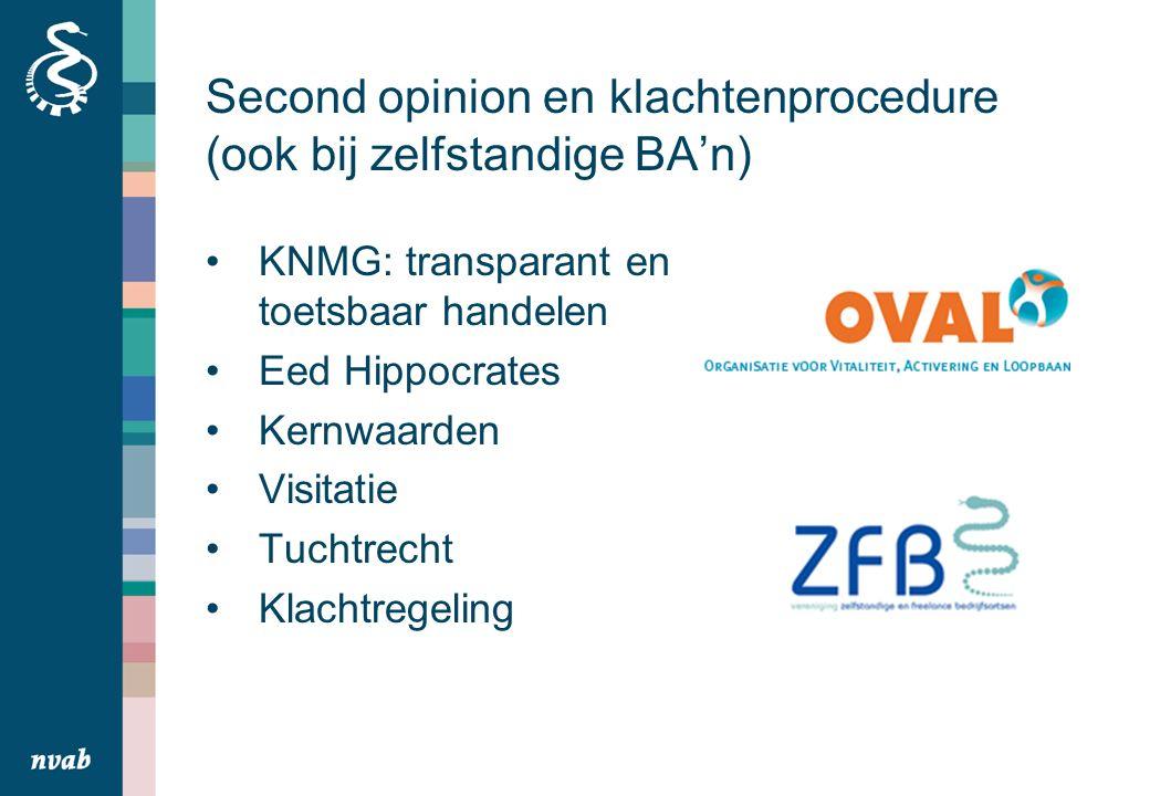 Second opinion en klachtenprocedure (ook bij zelfstandige BA'n) KNMG: transparant en toetsbaar handelen Eed Hippocrates Kernwaarden Visitatie Tuchtrecht Klachtregeling