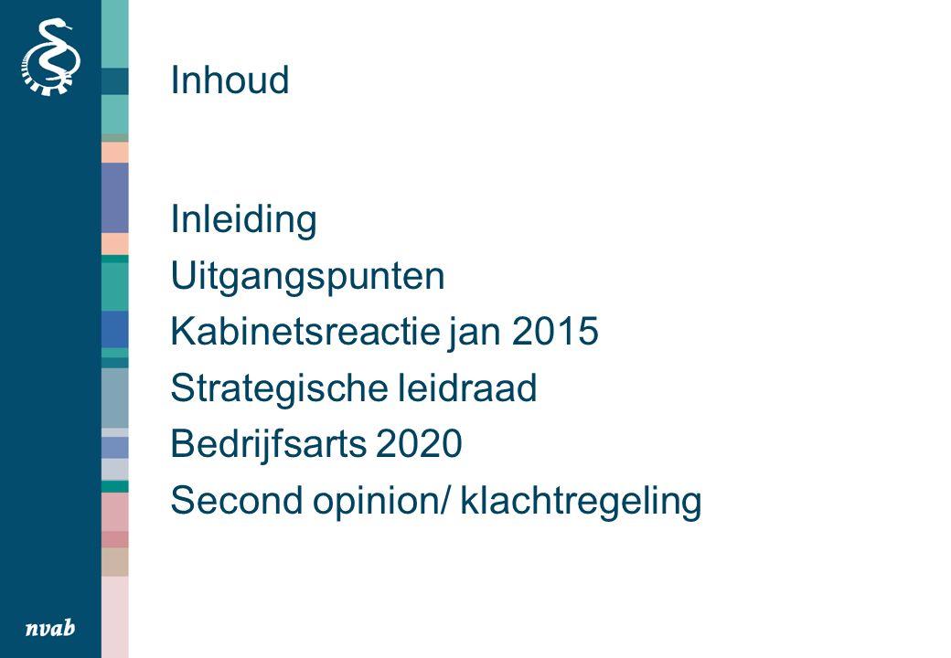 Inhoud Inleiding Uitgangspunten Kabinetsreactie jan 2015 Strategische leidraad Bedrijfsarts 2020 Second opinion/ klachtregeling
