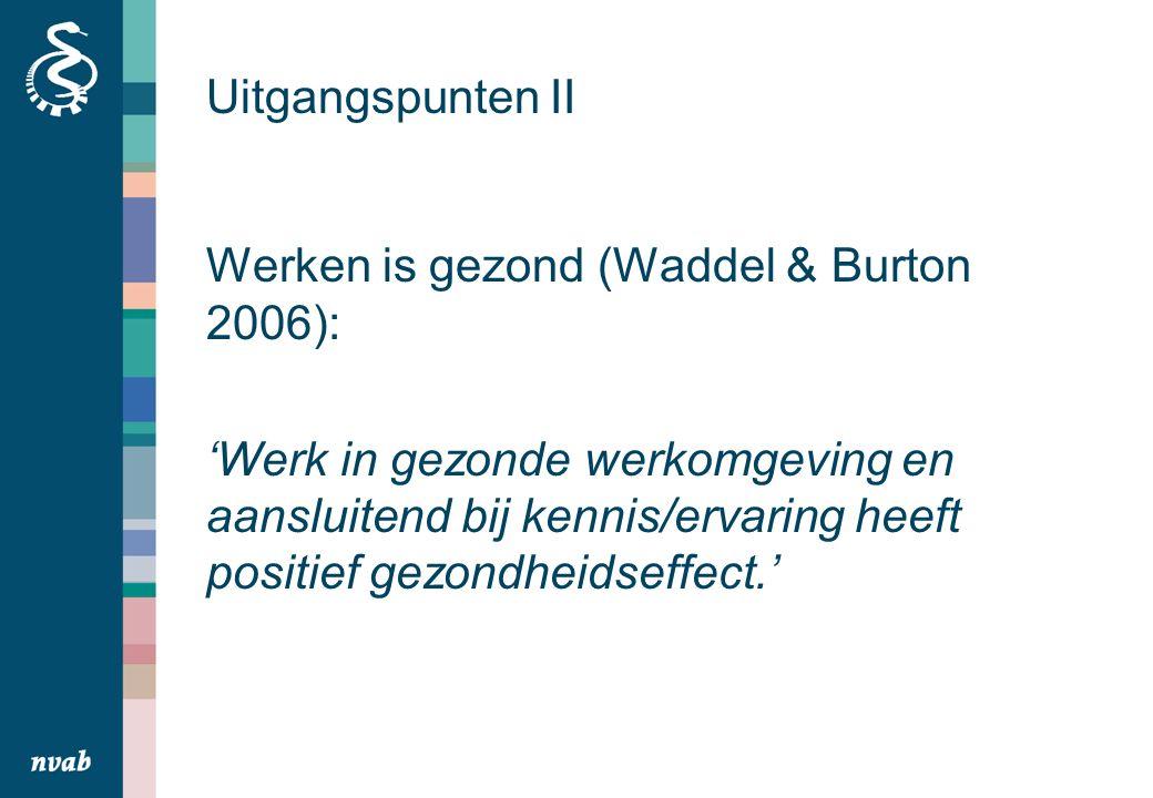 Uitgangspunten II Werken is gezond (Waddel & Burton 2006): 'Werk in gezonde werkomgeving en aansluitend bij kennis/ervaring heeft positief gezondheidseffect.'