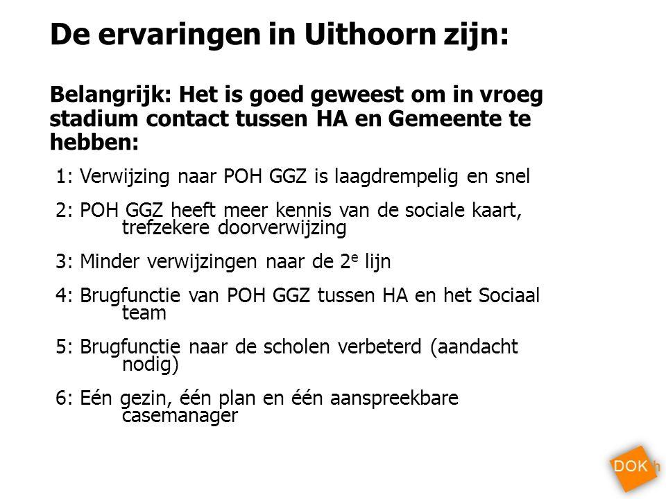 De ervaringen in Uithoorn zijn: Belangrijk: Het is goed geweest om in vroeg stadium contact tussen HA en Gemeente te hebben: 1: Verwijzing naar POH GG