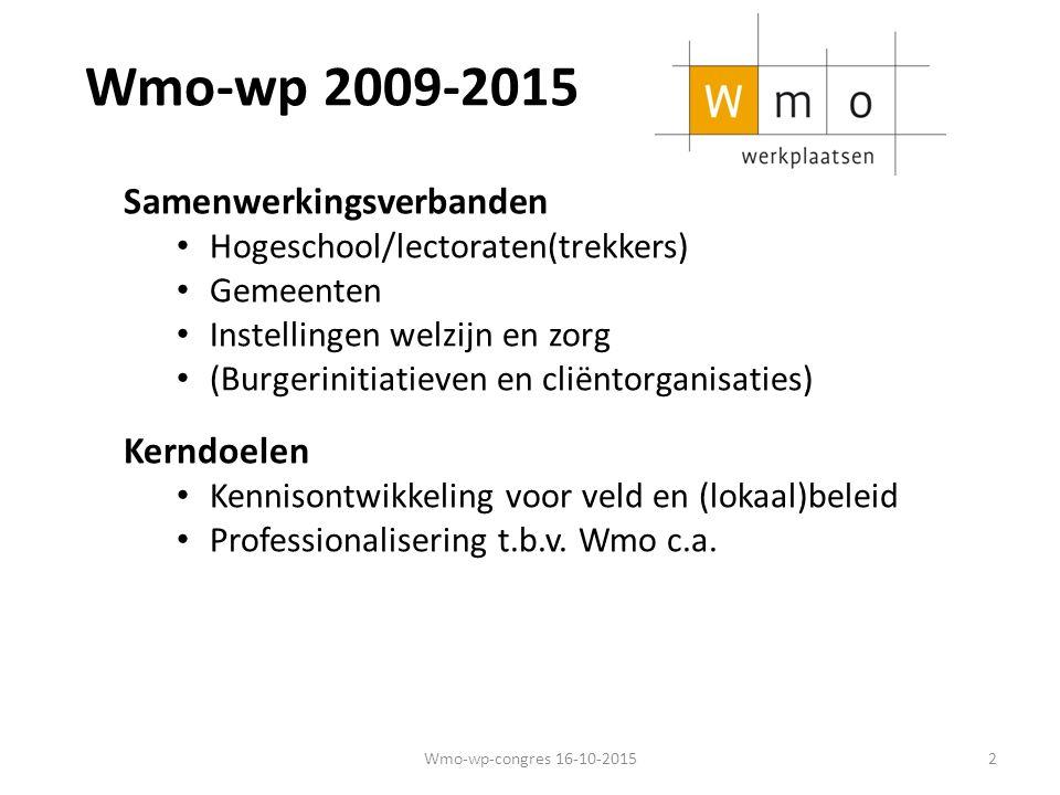 Wmo-wp 2009-2015 Kernactiviteiten 4 O's Onderzoek ten behoeve van praktijk (en beleid) Ontwikkeling nieuwe werkwijzen/interventies Onderwijs (initieel en postinitieel) Ondersteuning (advies en training) 4 O's zijn onderling verbonden Wisselwerking praktijk, onderzoek en onderwijs Wmo-wp-congres 16-10-20153
