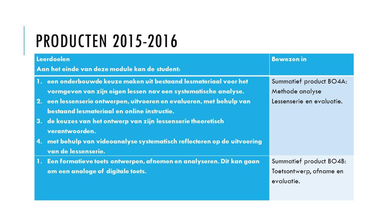 PRODUCTEN 2015-2016 Leerdoelen Aan het einde van deze module kan de student: Bewezen in 1.een onderbouwde keuze maken uit bestaand lesmateriaal voor h