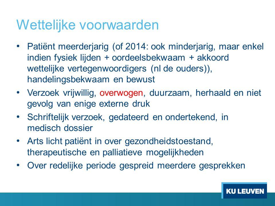 Wettelijke voorwaarden Patiënt meerderjarig (of 2014: ook minderjarig, maar enkel indien fysiek lijden + oordeelsbekwaam + akkoord wettelijke vertegen