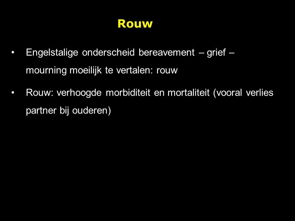 Rouw Engelstalige onderscheid bereavement – grief – mourning moeilijk te vertalen: rouw Rouw: verhoogde morbiditeit en mortaliteit (vooral verlies par