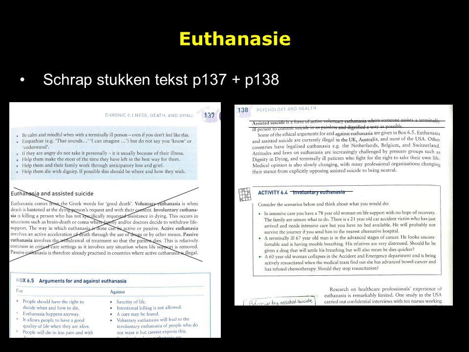 Euthanasie: het opzettelijk levensbeëindigend handelen (iets dodelijk doen, dus per definitie actief) door een andere dan de betrokkene, op diens verzoek (dus per definitie 'vrijwillig') Al de rest noemt men niet (meer) euthanasie; passieve, actieve, onvrijwillige euthanasie zijn te mijden termen 'Actief' opzettelijk levensbeëindigend handelen, niet op verzoek van patiënt ('onvrijwillig') = moord Euthanasie