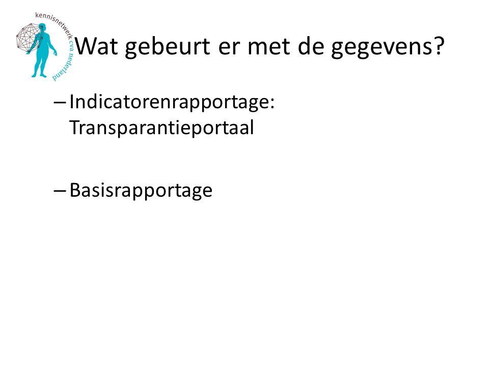 Wat gebeurt er met de gegevens? – Indicatorenrapportage: Transparantieportaal – Basisrapportage