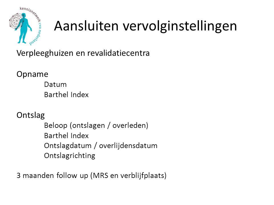 Aansluiten vervolginstellingen Verpleeghuizen en revalidatiecentra Opname Datum Barthel Index Ontslag Beloop (ontslagen / overleden) Barthel Index Ont