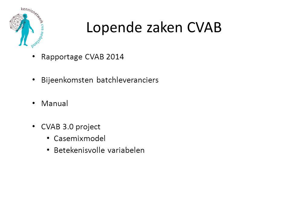 Lopende zaken CVAB Rapportage CVAB 2014 Bijeenkomsten batchleveranciers Manual CVAB 3.0 project Casemixmodel Betekenisvolle variabelen