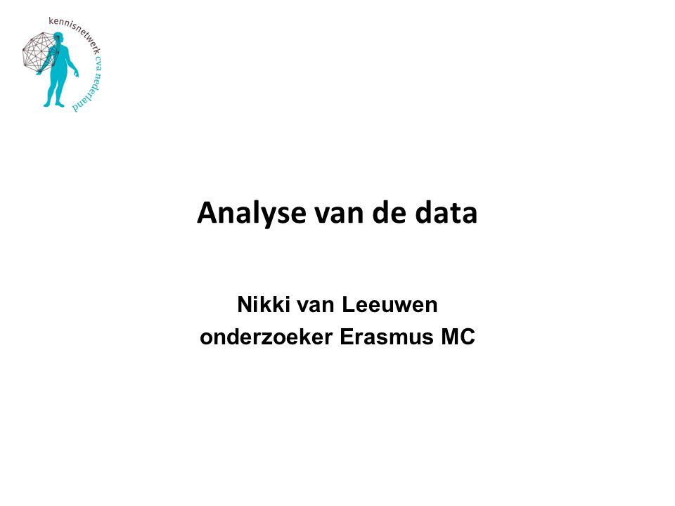 Analyse van de data Nikki van Leeuwen onderzoeker Erasmus MC