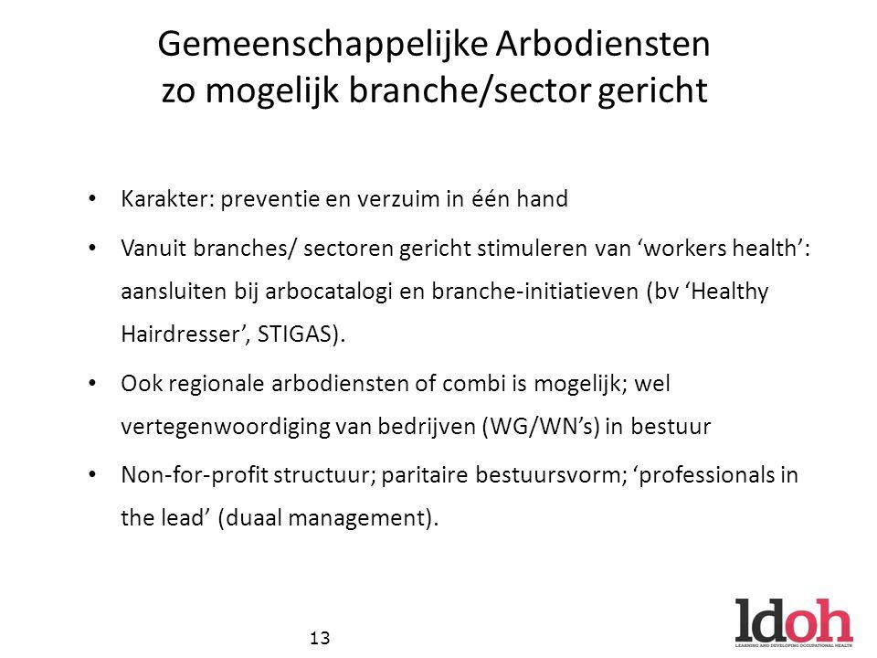 Gemeenschappelijke Arbodiensten zo mogelijk branche/sector gericht Karakter: preventie en verzuim in één hand Vanuit branches/ sectoren gericht stimuleren van 'workers health': aansluiten bij arbocatalogi en branche-initiatieven (bv 'Healthy Hairdresser', STIGAS).