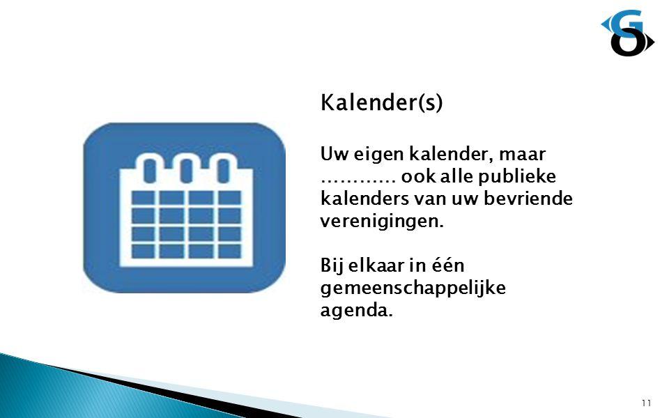 Kalender(s) Uw eigen kalender, maar ………… ook alle publieke kalenders van uw bevriende verenigingen. Bij elkaar in één gemeenschappelijke agenda. 11