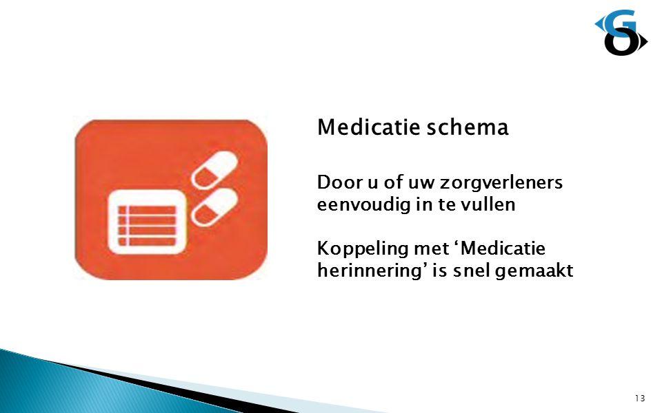 Medicatie schema Door u of uw zorgverleners eenvoudig in te vullen Koppeling met 'Medicatie herinnering' is snel gemaakt 13
