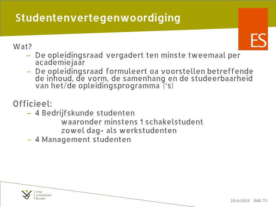 23-9-2015 pag. 11 Studentenvertegenwoordiging Wat.