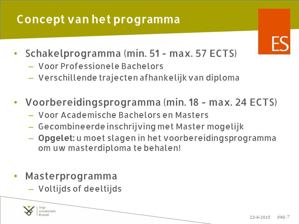23-9-2015 pag. 7 Concept van het programma Schakelprogramma (min.