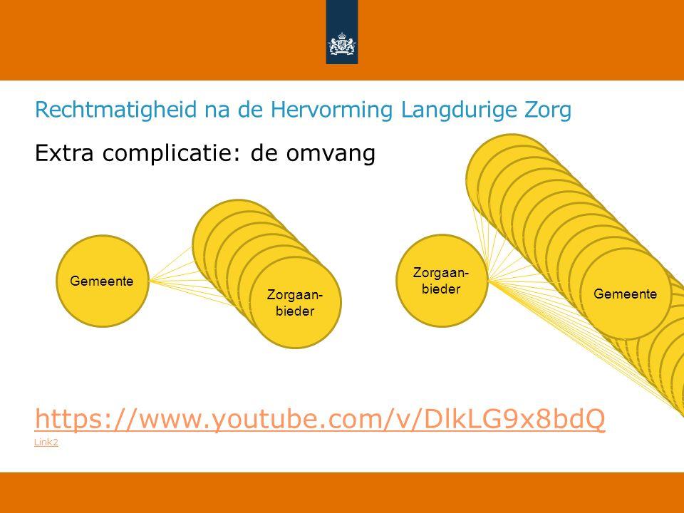Extra complicatie: de omvang https://www.youtube.com/v/DlkLG9x8bdQ Link2 Gemeente Zorgaan- bieder Gemeente Rechtmatigheid na de Hervorming Langdurige