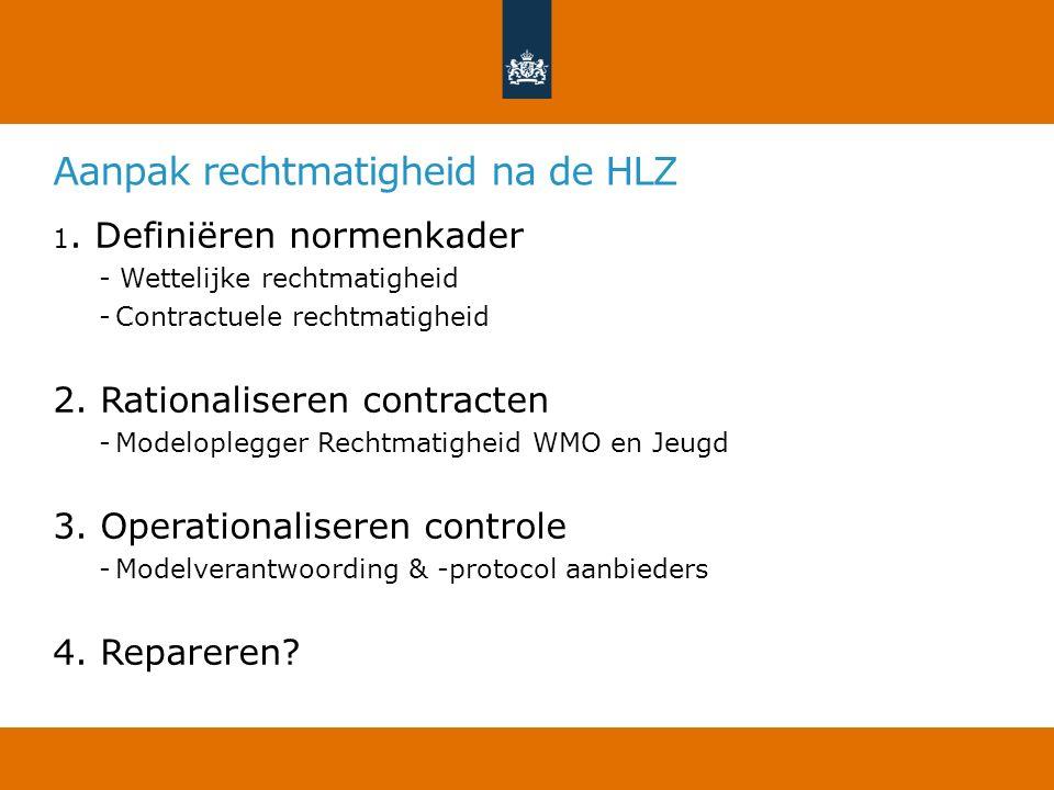 Aanpak rechtmatigheid na de HLZ 1. Definiëren normenkader - Wettelijke rechtmatigheid -Contractuele rechtmatigheid 2. Rationaliseren contracten -Model