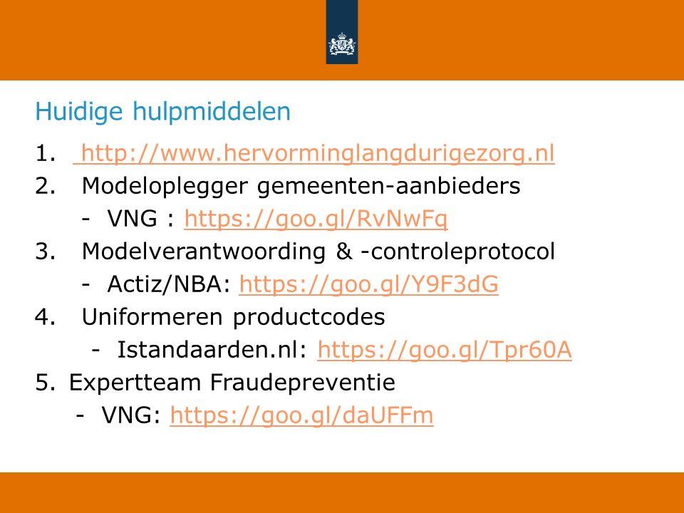 Huidige hulpmiddelen 1. http://www.hervorminglangdurigezorg.nl http://www.hervorminglangdurigezorg.nl 2. Modeloplegger gemeenten-aanbieders - VNG : ht
