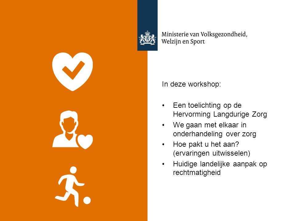 In deze workshop: Een toelichting op de Hervorming Langdurige Zorg We gaan met elkaar in onderhandeling over zorg Hoe pakt u het aan? (ervaringen uitw