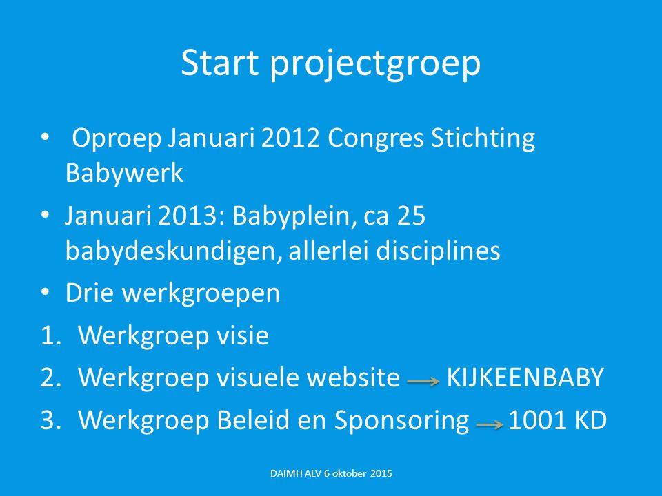 Van Babyplein naar projectgroep Kijk een Baby Projectgroep opgericht (met klankbordgroep) Om sterker te staan in onderhandelingen met Gemeentes, VWS, sponsors e.a.