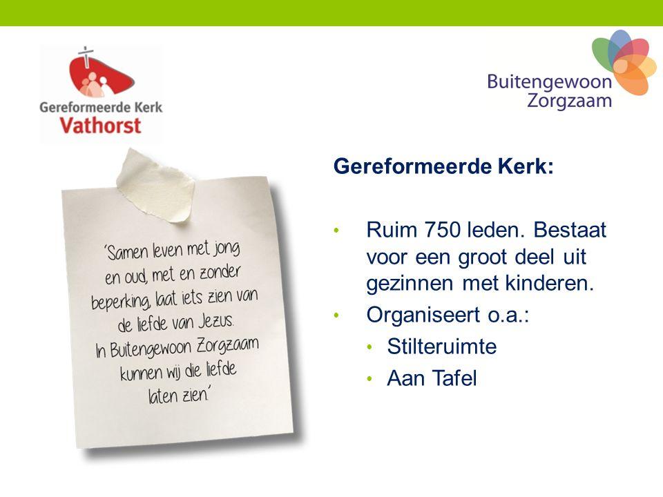 Gereformeerde Kerk: Ruim 750 leden. Bestaat voor een groot deel uit gezinnen met kinderen.
