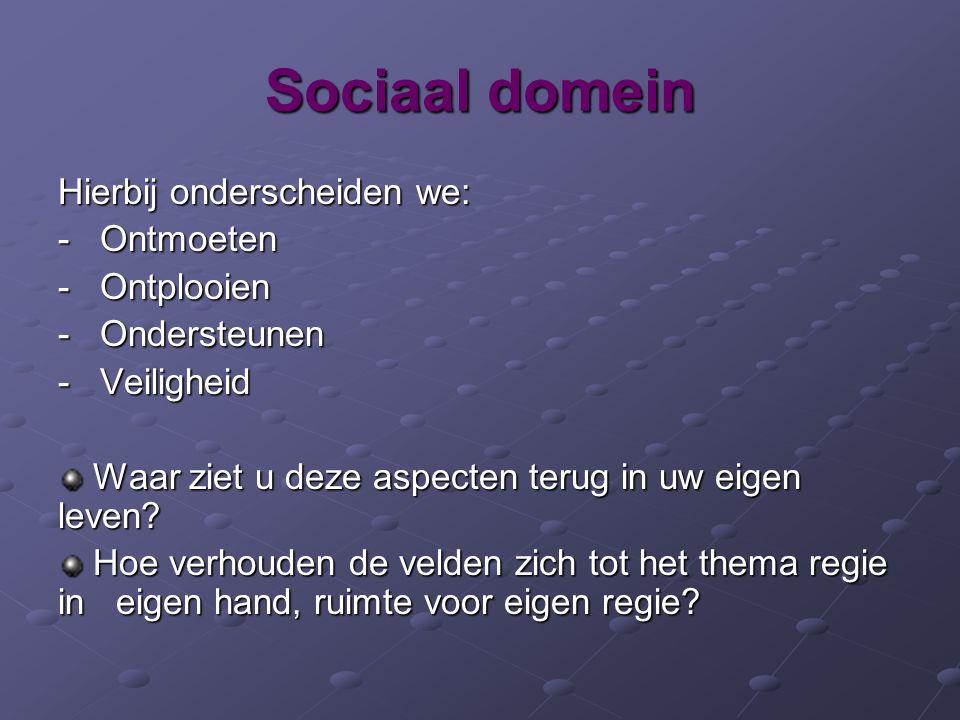 Sociaal domein Hierbij onderscheiden we: - Ontmoeten - Ontplooien - Ondersteunen - Veiligheid Waar ziet u deze aspecten terug in uw eigen leven.