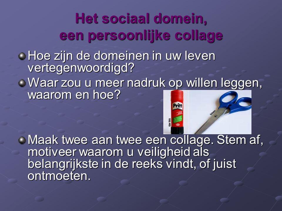 Het sociaal domein, een persoonlijke collage Hoe zijn de domeinen in uw leven vertegenwoordigd? Waar zou u meer nadruk op willen leggen, waarom en hoe