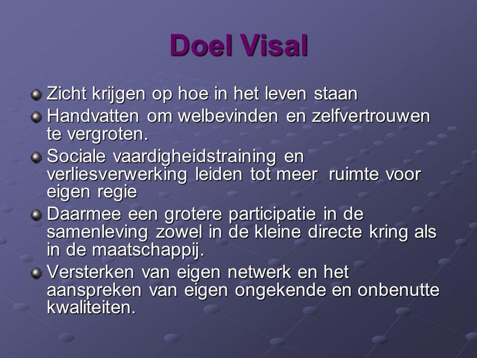 Doel Visal Zicht krijgen op hoe in het leven staan Handvatten om welbevinden en zelfvertrouwen te vergroten. Sociale vaardigheidstraining en verliesve