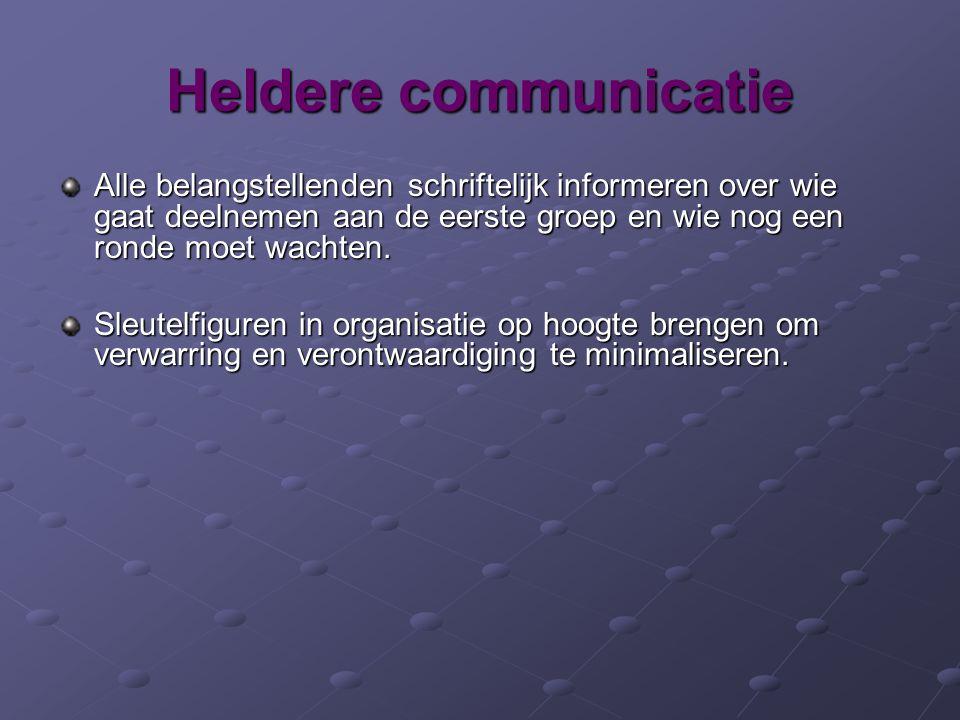 Heldere communicatie Alle belangstellenden schriftelijk informeren over wie gaat deelnemen aan de eerste groep en wie nog een ronde moet wachten.