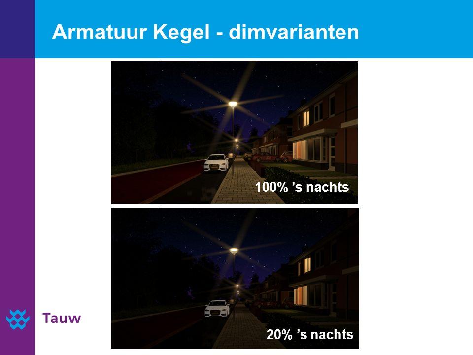 Armatuur Kegel - dimvarianten 20% 's nachts 100% 's nachts