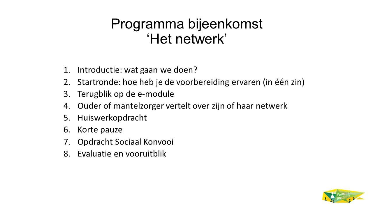 Programma bijeenkomst 'Het netwerk' 1.Introductie: wat gaan we doen? 2.Startronde: hoe heb je de voorbereiding ervaren (in één zin) 3.Terugblik op de
