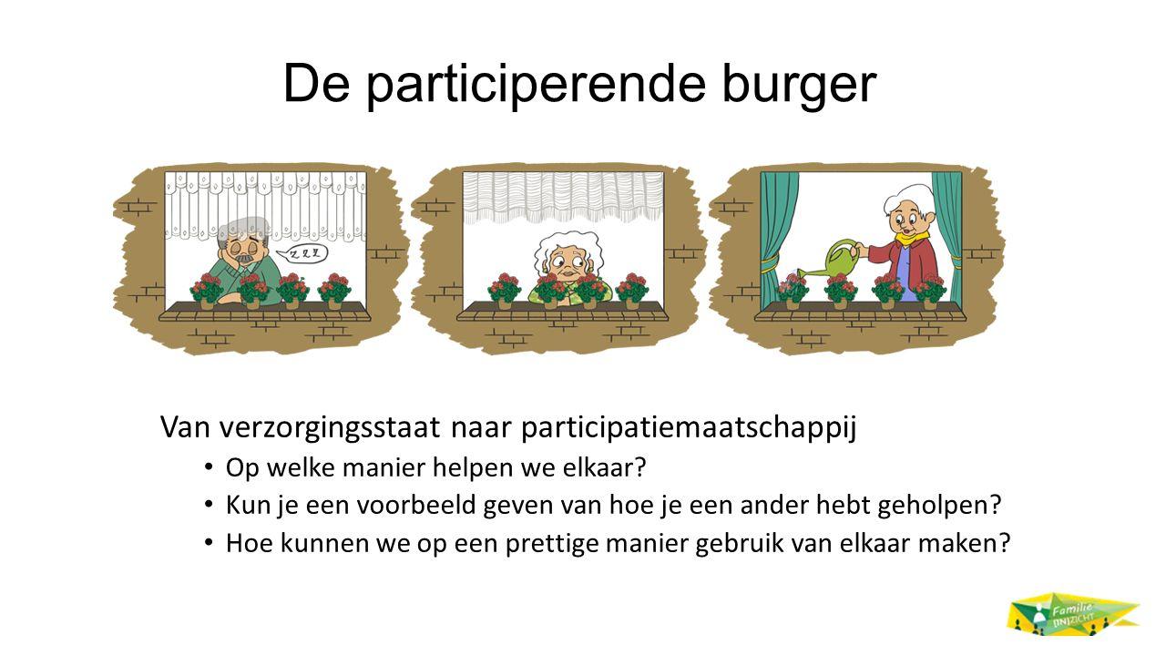 De participerende burger Van verzorgingsstaat naar participatiemaatschappij Op welke manier helpen we elkaar? Kun je een voorbeeld geven van hoe je ee