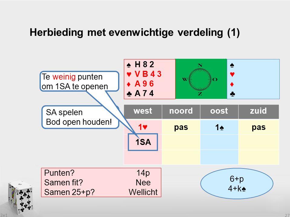 2e1 27 Herbieding met evenwichtige verdeling (1) westnoordoostzuid 1♥pas ♠♥♦♣♠♥♦♣ ♠♥♦♣♠♥♦♣ Wat heeft partner.