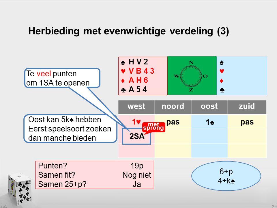 2e1 29 Herbieding met evenwichtige verdeling (3) westnoordoostzuid 1♥pas ♠♥♦♣♠♥♦♣ ♠♥♦♣♠♥♦♣ Wat heeft partner.