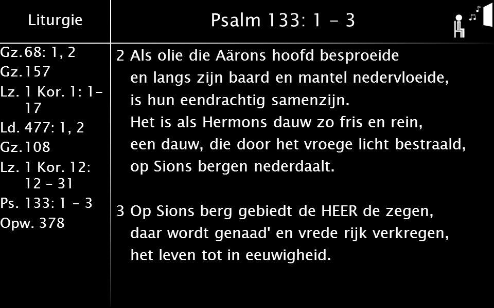 Liturgie Gz.68: 1, 2 Gz.157 Lz. 1 Kor. 1: 1- 17 Ld.477: 1, 2 Gz.108 Lz.1 Kor. 12: 12 – 31 Ps.133: 1 - 3 Opw. 378 Psalm 133: 1 - 3 2Als olie die Aärons