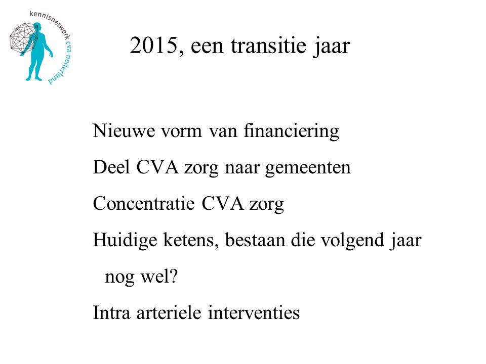 2015, een transitie jaar Nieuwe vorm van financiering Deel CVA zorg naar gemeenten Concentratie CVA zorg Huidige ketens, bestaan die volgend jaar nog
