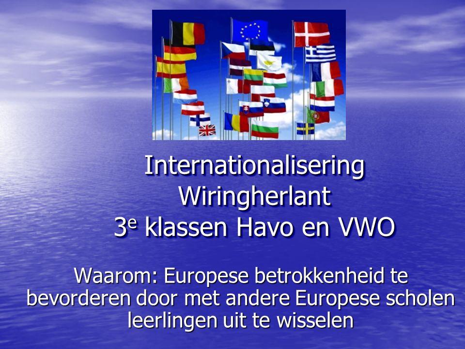Internationalisering Wiringherlant 3 e klassen Havo en VWO Waarom: Europese betrokkenheid te bevorderen door met andere Europese scholen leerlingen uit te wisselen