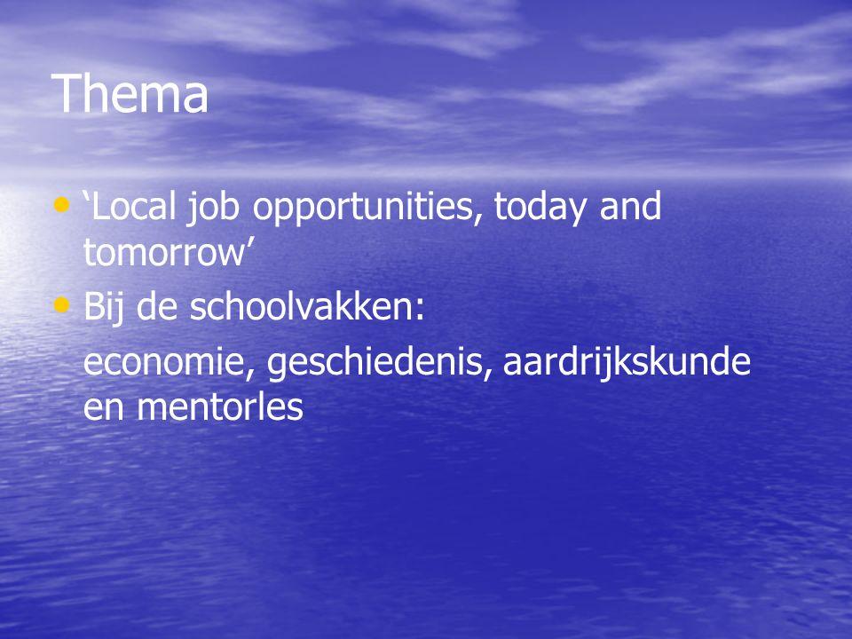Doel project en uitwisseling Voor allen: onderzoeken welke banen in de omgeving zijn en het toekomstperspectief in de regio.
