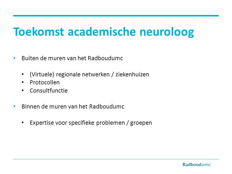 Toekomst academische neuroloog Buiten de muren van het Radboudumc (Virtuele) regionale netwerken / ziekenhuizen Protocollen Consultfunctie Binnen de m