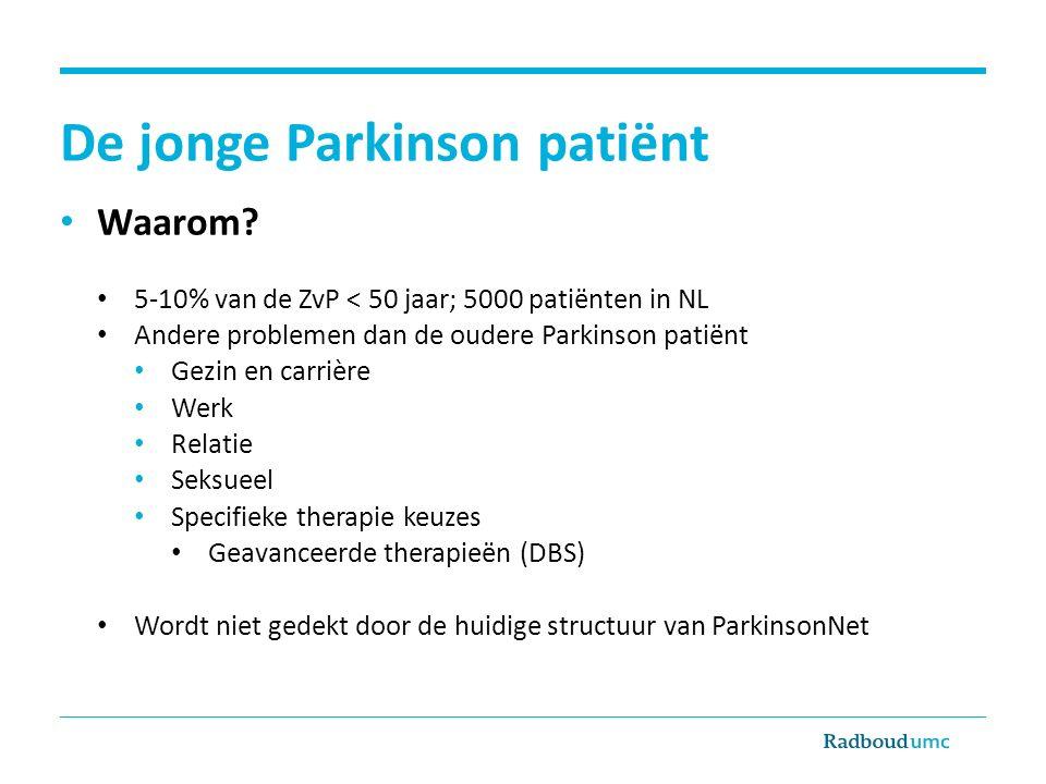 De jonge Parkinson patiënt Waarom? 5-10% van de ZvP < 50 jaar; 5000 patiënten in NL Andere problemen dan de oudere Parkinson patiënt Gezin en carrière