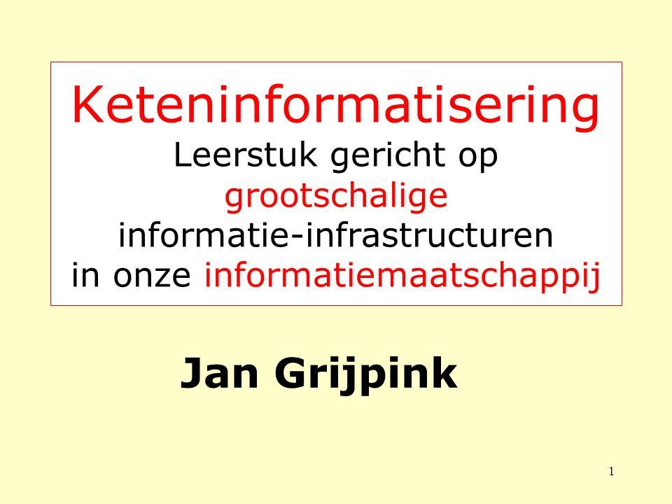 1 Keteninformatisering Leerstuk gericht op grootschalige informatie-infrastructuren in onze informatiemaatschappij Jan Grijpink